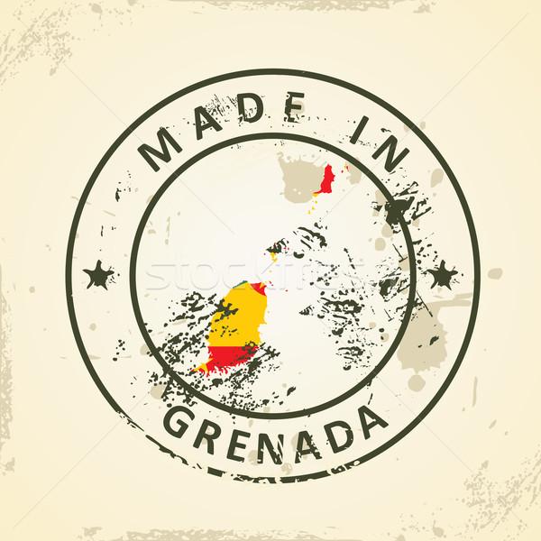 Sello mapa bandera Granada grunge textura Foto stock © ojal