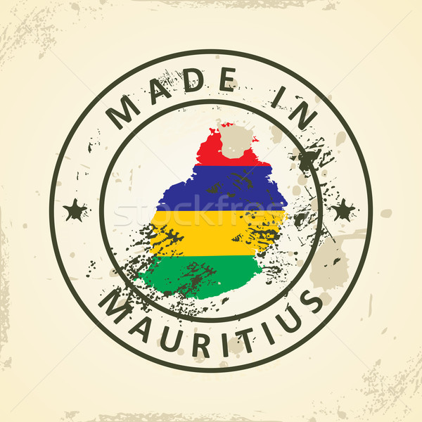 Stamp with map flag of Mauritius Stock photo © ojal