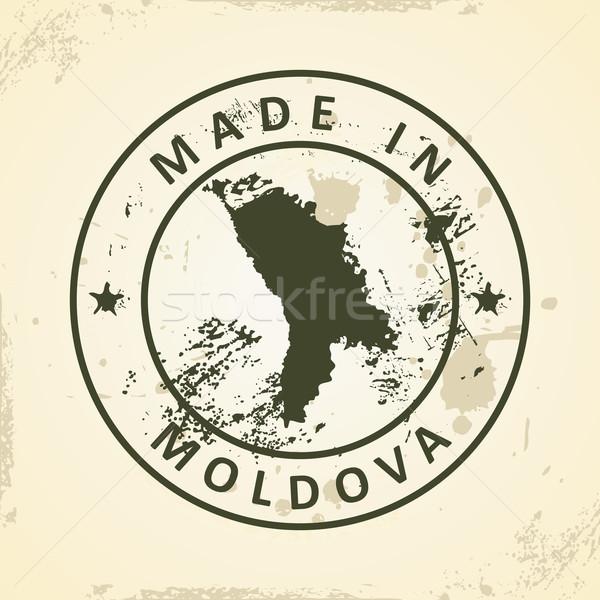 Bélyeg térkép Moldova grunge üzlet terv Stock fotó © ojal