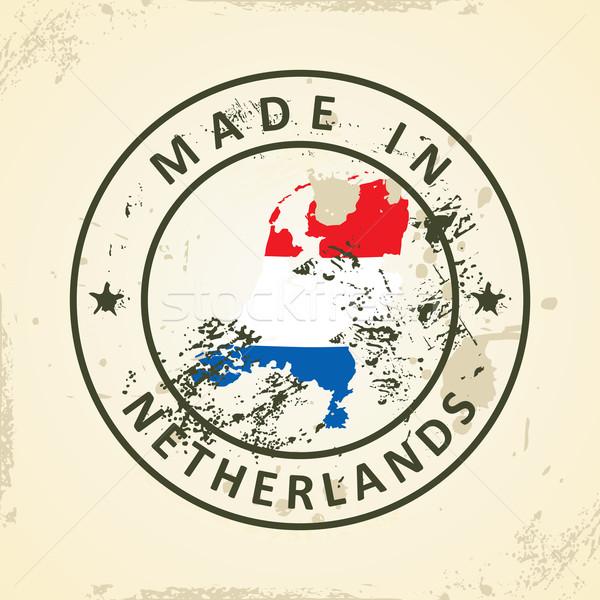 スタンプ 地図 フラグ オランダ グランジ 世界 ストックフォト © ojal