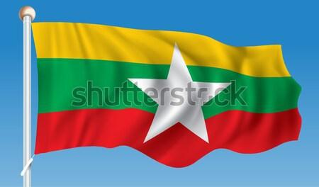 Bandeira birmânia mapa branco país Ásia Foto stock © ojal