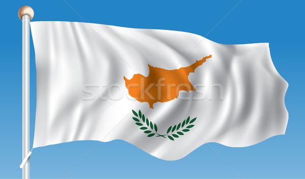 флаг Кипр аннотация земле знак силуэта Сток-фото © ojal