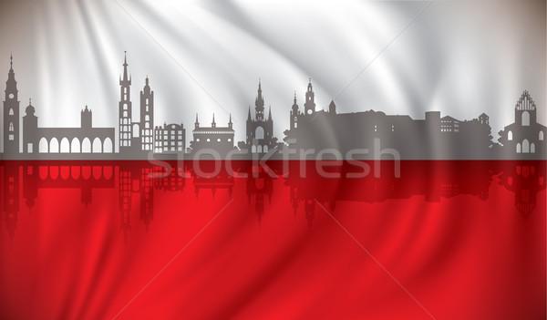 Bandera cracovia horizonte ciudad reloj puente Foto stock © ojal