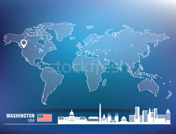 Map pin with Washington skyline Stock photo © ojal