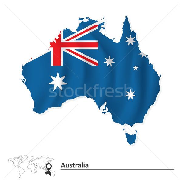 Karte Australien Flagge Welt Hintergrund Zeichen Stock foto © ojal