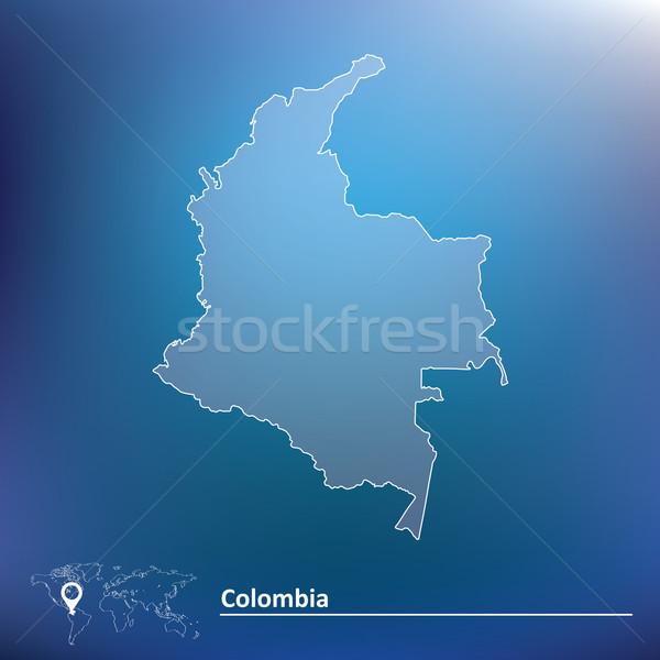 Kaart Colombia achtergrond Blauw vlag Rood Stockfoto © ojal