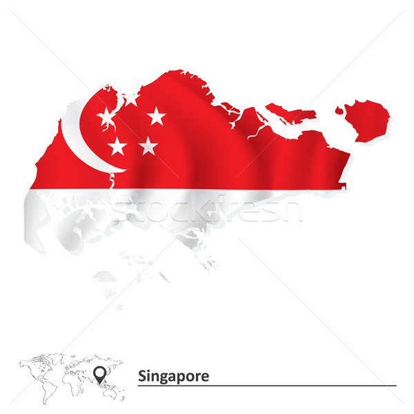 Mapa Cingapura bandeira textura lua silhueta Foto stock © ojal