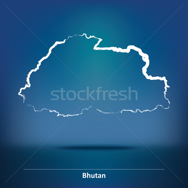 Rabisco mapa Butão abstrato projeto mundo Foto stock © ojal