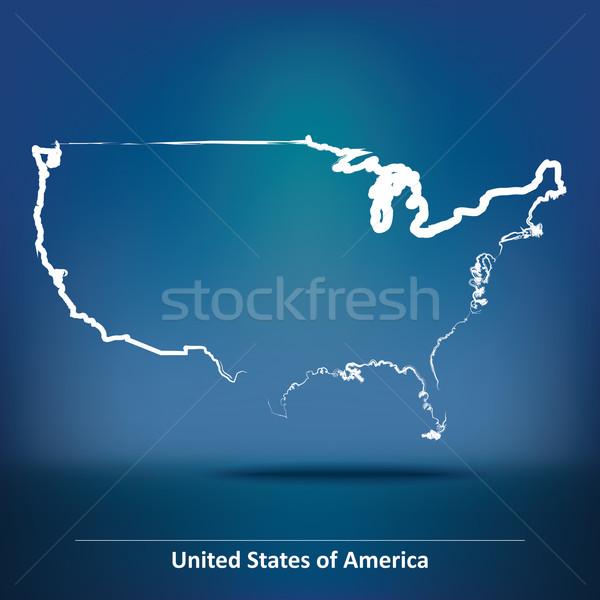 Karalama harita Amerika Birleşik Devletleri Amerika dünya imzalamak Stok fotoğraf © ojal