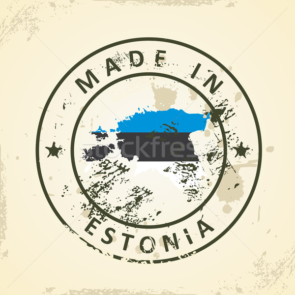 Stamp with map flag of Estonia Stock photo © ojal