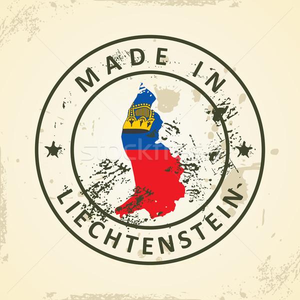 Stock fotó: Bélyeg · térkép · zászló · Liechtenstein · grunge · világ