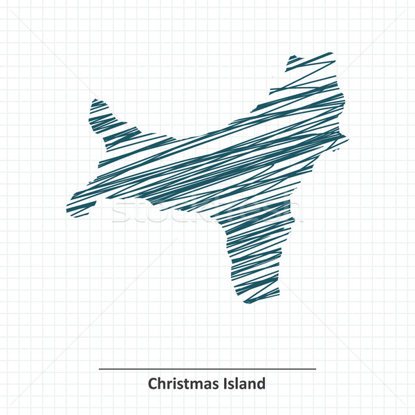 Doodle sketch of Christmas Island map Stock photo © ojal
