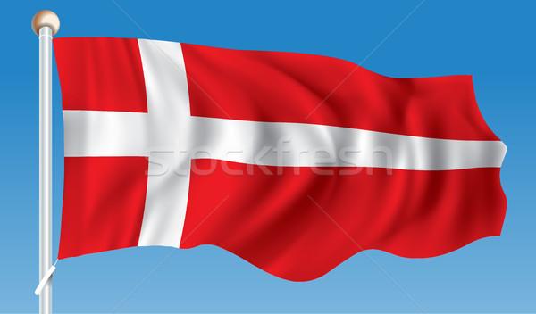 Bandeira Dinamarca abstrato mundo silhueta branco Foto stock © ojal