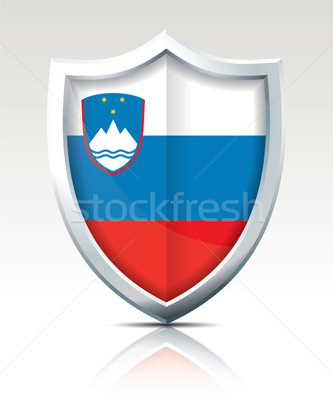Scudo bandiera Slovenia abstract design mondo Foto d'archivio © ojal