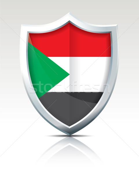 Pajzs zászló Szudán világ felirat zöld Stock fotó © ojal