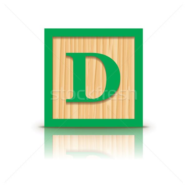 Vektor d betű fából készült ábécé üzlet építkezés Stock fotó © ojal