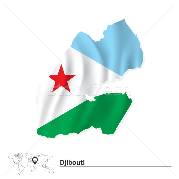 Map of Djibouti with flag Stock photo © ojal