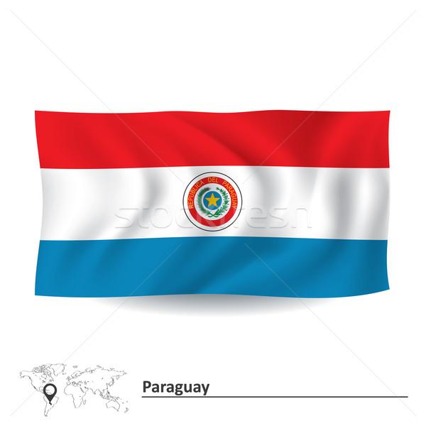 Banderą Paragwaj niebieski podróży wiatr wykres Zdjęcia stock © ojal