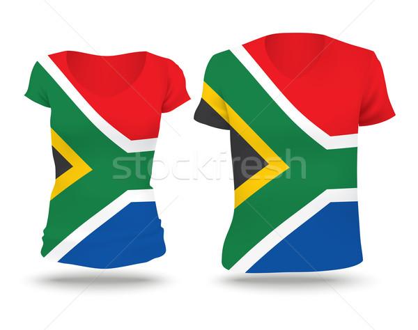 Pavillon shirt design Afrique du Sud femme homme Photo stock © ojal