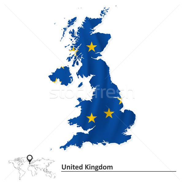 Map of United Kingdom with European Union flag Stock photo © ojal