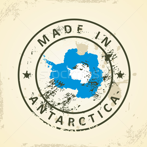 Stamp with map flag of Antarctica Stock photo © ojal