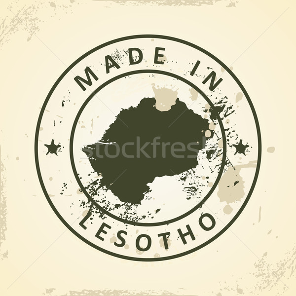 Tampon carte Lesotho grunge monde fond Photo stock © ojal