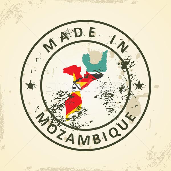 Carimbo mapa bandeira Moçambique grunge mundo Foto stock © ojal