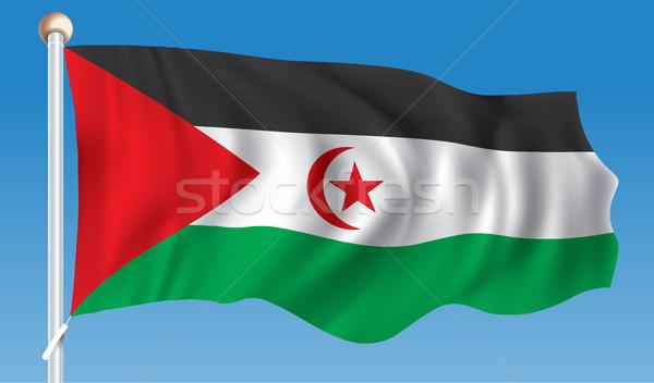 Stock fotó: Zászló · western · Szahara · térkép · csillag · piros