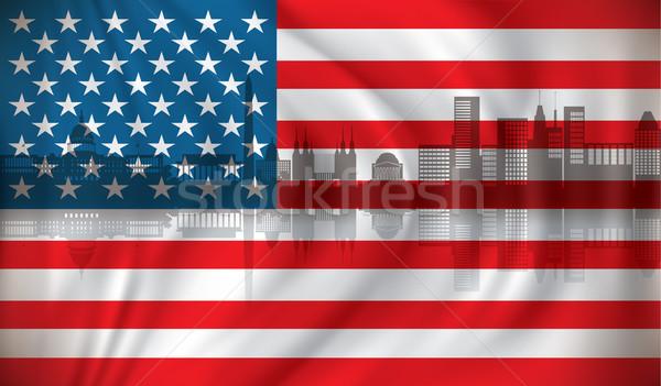Flag of USA with Washington skyline Stock photo © ojal