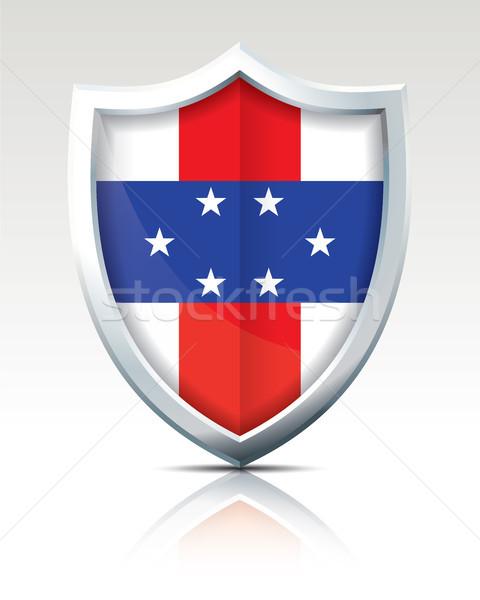 Escudo bandeira Holanda abstrato viajar silhueta Foto stock © ojal