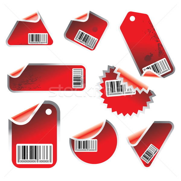 red vector tag and sticker set with bar codes Stock photo © ojal