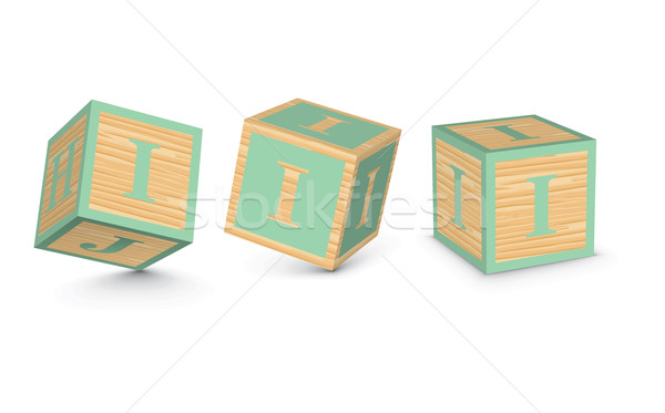 Stock photo: Vector letter I wooden alphabet blocks