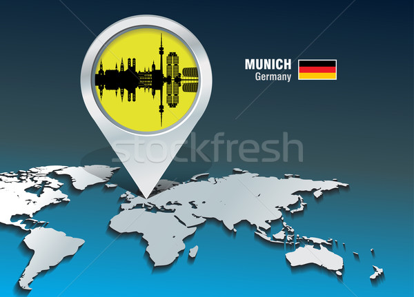 Stockfoto: Kaart · pin · München · skyline · gebouw · stad