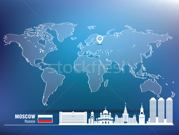 Map pin with Moscow skyline Stock photo © ojal
