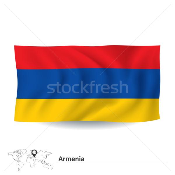 Bandeira Armênia mapa projeto mundo assinar Foto stock © ojal