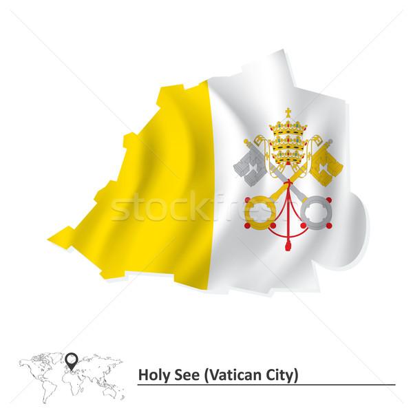 Térkép Vatikán zászló város utazás sziluett Stock fotó © ojal