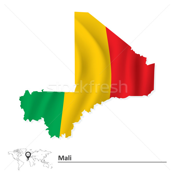 Map of Mali with flag Stock photo © ojal
