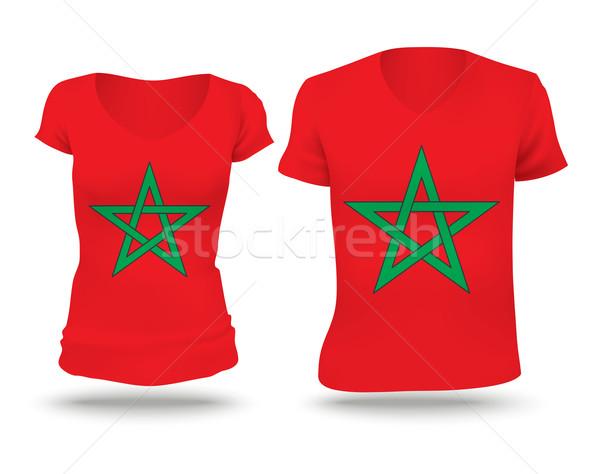 Zászló póló terv Marokkó nő férfi Stock fotó © ojal