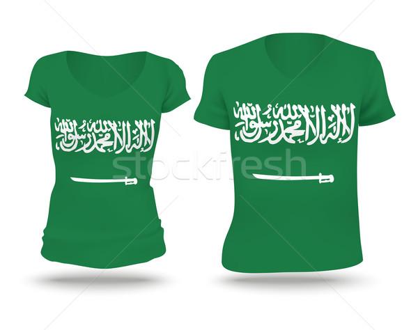 Vlag shirt ontwerp Saoedi-Arabië vrouw man Stockfoto © ojal