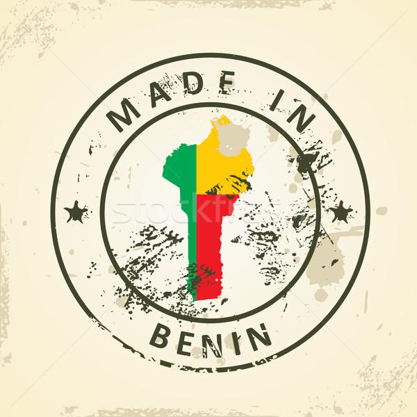 Timbro mappa bandiera Benin grunge sfondo Foto d'archivio © ojal