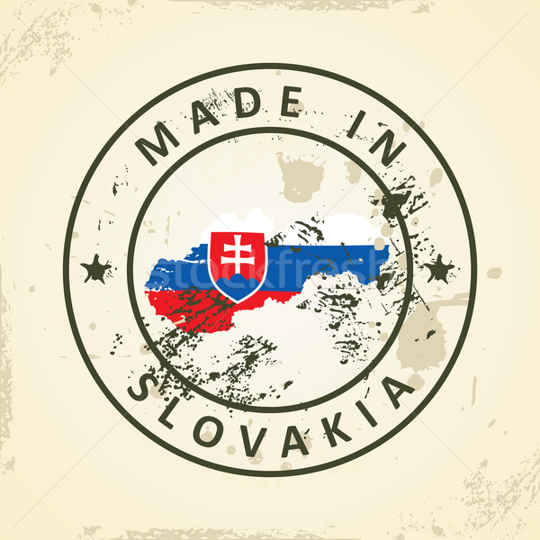 Stamp with map flag of Slovakia Stock photo © ojal
