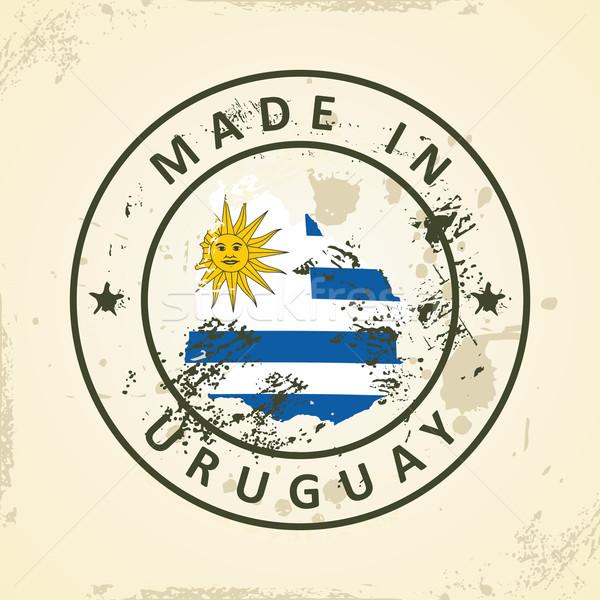 Bélyeg térkép zászló Uruguay grunge textúra Stock fotó © ojal