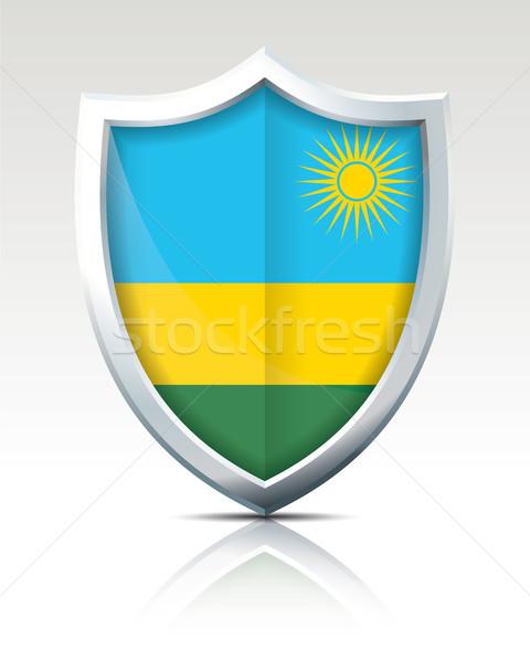 Tarcza banderą Rwanda świat zielone niebieski Zdjęcia stock © ojal