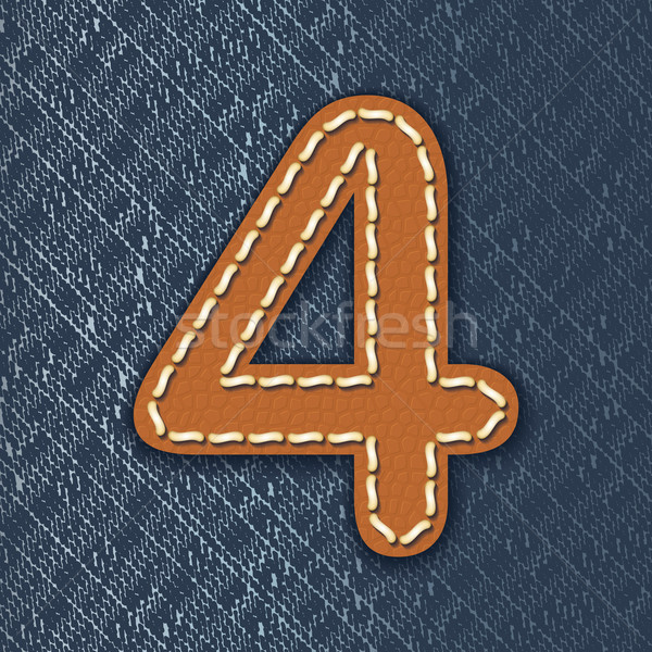 Number 4 made from leather on jeans background Stock photo © ojal