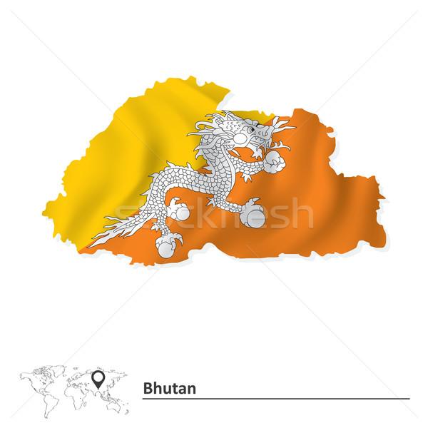 Kaart Bhutan vlag water abstract wereld Stockfoto © ojal