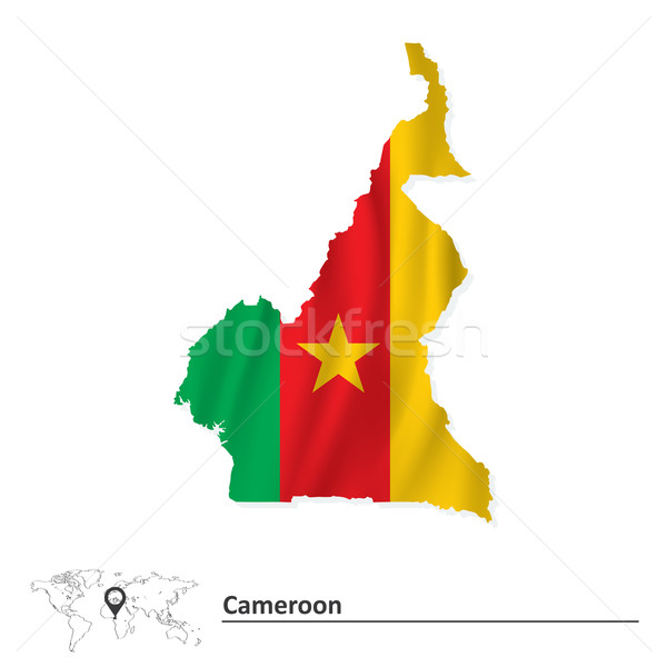 Map of Cameroon with flag Stock photo © ojal