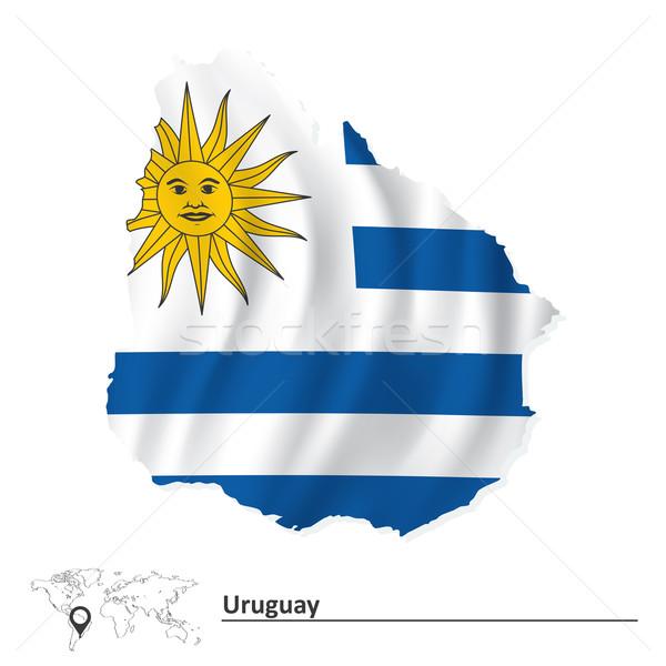 Térkép Uruguay zászló város háttér utazás Stock fotó © ojal