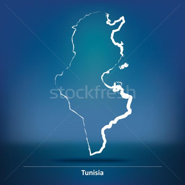 Rabisco mapa Tunísia textura assinar asiático Foto stock © ojal