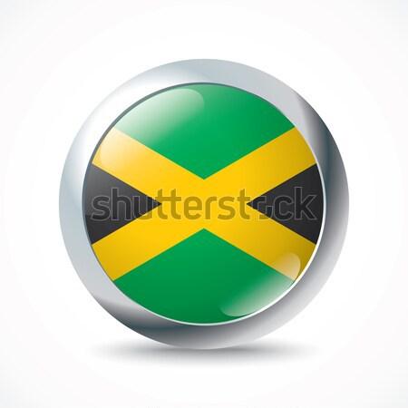 Jamaica vlag knop achtergrond teken groene Stockfoto © ojal