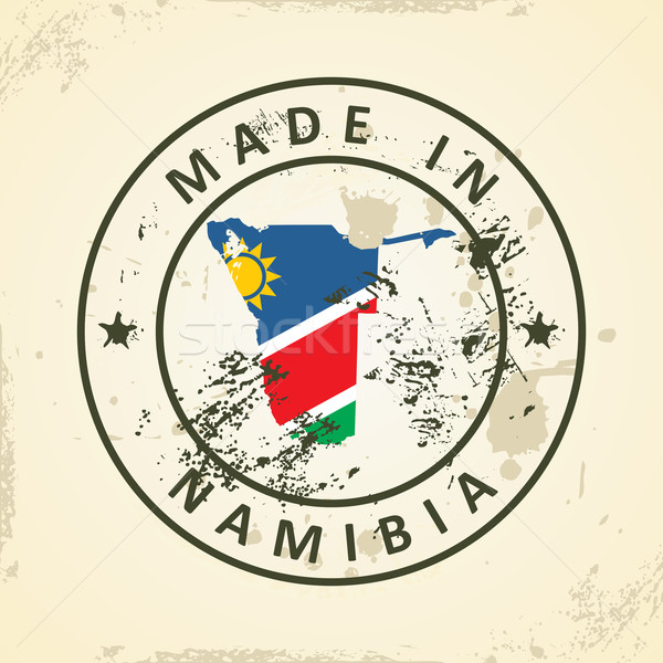 Stamp with map flag of Namibia Stock photo © ojal